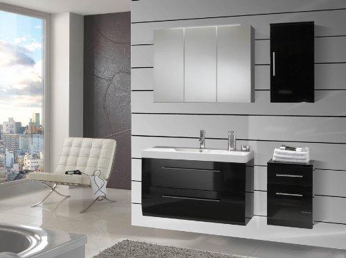SAM-Badmbel-Set-Zrich-90-cm-in-Hochglanz-schwarz-4tlg-Badezimmer-mit-Softclose-Funktion-1-Waschplatz-mit-Mineralgussbecken-1-Spiegelschrank-1-Unterschrank-1-Hngeschrank-0