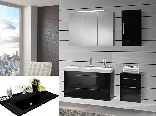 SAM-Badmbel-Set-Zrich-90-cm-in-Hochglanz-schwarz-4tlg-Designer-Badezimmer-mit-Softclose-Funktion-1-Waschplatz-mit-Milchglasbecken-schwarz-1-Spiegelschrank-1-Unterschrank-1-Hngeschrank-0