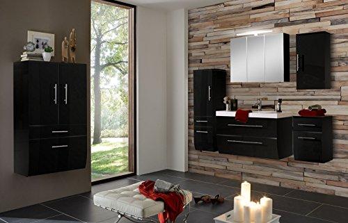SAM-Badmbel-Set-Zrich-90-cm-in-Hochglanz-schwarz-6tlg-Badezimmer-mit-Softclose-Funktion-1-Waschplatz-1-Spiegelschrank-1-Hochschrank-1-breiter-Hochschrank-1-Unterschrank-1-Hngeschrank-0