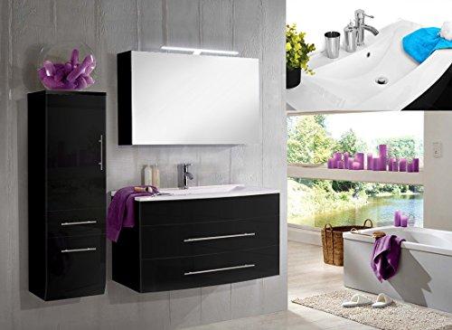 SAM-Badmbel-Set-Zrich-Deluxe-100-cm-in-Hochglanz-schwarz-3tlg-Designer-Badezimmer-mit-Softclose-Funktion-1-Waschplatz-mit-Mineralgussbecken-wei-1-Spiegelschrank-Deluxe-und-1-Hochschrank-0