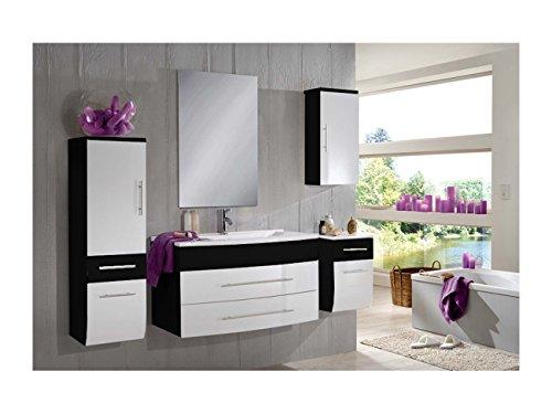 SAM-Badmbel-Set-Zrich-light-100-cm-Hochglanz-schwarz-wei-5tlg-mit-Softclose-Funktion-1-Waschplatz-mit-Milchglasbecken-grn-1-Spiegelschrank-1-Hochschrank-1-Unterschrank-1-Hngeschrank-0