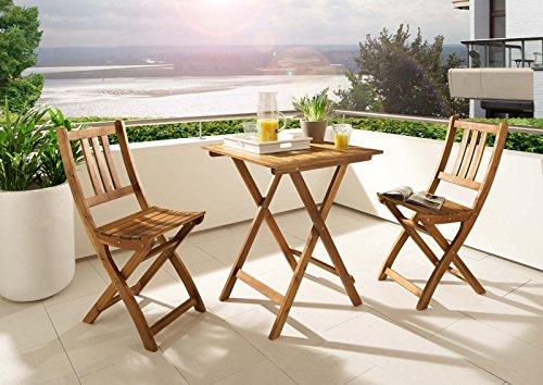SAM® Balkongruppe 1 Blossom 3tlg. aus Akazienholz, Gartenmöbel bestehend aus 1 x Tisch + 2 x Klappstuhl, zusammenklappbar, leicht zu verstauen