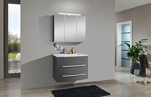 sam design badmbel set genf 2tlg in grau 70 cm breite mineralgussbecken tren und schubladen mit. Black Bedroom Furniture Sets. Home Design Ideas