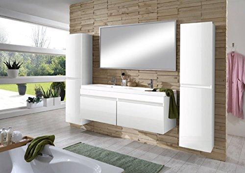 SAM-Design-Badmbel-Set-Parma-4tlg-in-Hochglanz-wei-140-cm-Doppel-Waschplatz-Badezimmermbel-bestehend-aus-1-x-Spiegel-1-x-Waschplatz-und-2-x-Hochschrank-0