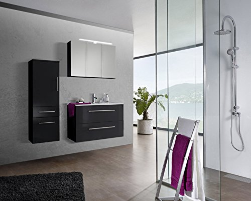 sam design badmbel set verena 90 cm in hochglanz schwarz 3tlg designer badezimmer mit softclose. Black Bedroom Furniture Sets. Home Design Ideas