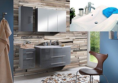 SAM-Design-Badmbel-Set-Zrich-100-cm-in-Hochglanz-grau-4tlg-Designer-Badezimmer-mit-Softclose-Funktion-1-Waschplatz-mit-Mineralgussbecken-wei-1-Spiegelschrank-1-Unterschrank-1-Hngeschrank-0