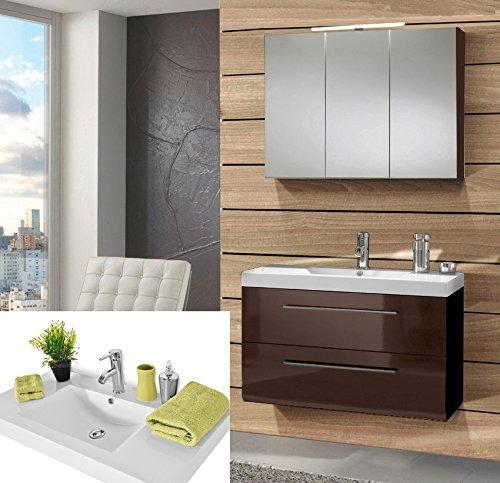 SAM-Design-Badmbel-Set-Zrich-90-cm-in-Hochglanz-braun-2tlg-Designer-Badezimmer-mit-Softclose-Funktion-1-Waschplatz-mit-Mineralgussbecken-und-1-Spiegelschrank-0