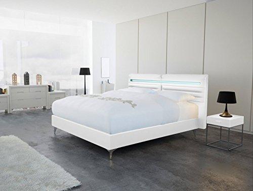 SAM® Design Boxspringbett Almeria Lima weiß mit 7-Zonen H2 Taschenfederkern-Matratze, Chrom-Füßen und LED-Beleuchtung 180 x 200 cm