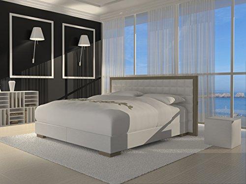 SAM® Design Boxspringbett Honolulu weiß mit 7-Zonen H2 Taschenfederkern-Matratze und Chrom-Füßen 180 x 200 cm