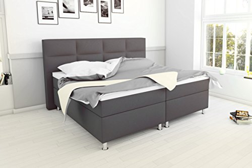 sam design boxspringbett messina in grau stoffbezug box mit holzrahmen und bonellfederkern 2. Black Bedroom Furniture Sets. Home Design Ideas