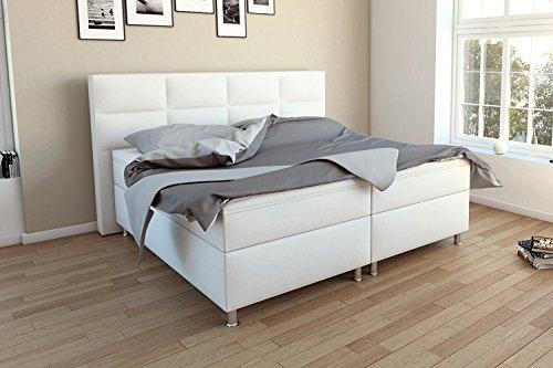 SAM® Design Boxspringbett Messina in Weiß, Kunstlederbezug, Box mit Holzrahmen und Bonellfederkern, 2 x 90 cm Bonellfederkernmatratze, Schaumstoff-Topper, FSC® 100 % zertifiziert, 180 x 200 cm