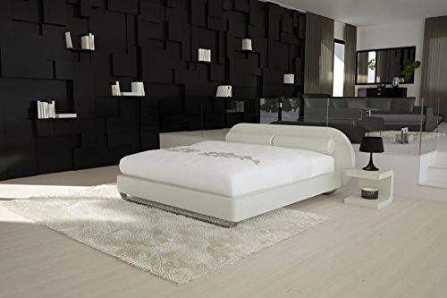 SAM® Design Boxspringbett Mila Girona weiß mit Bonellfederkern in Massiv-Holz-Rahmen und Chrom-Füßen 140 x 200 cm