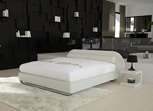 SAM® Design Boxspringbett Mila Girona weiß mit Bonellfederkern in Massiv-Holz-Rahmen und Chrom-Füßen 180 x 200 cm
