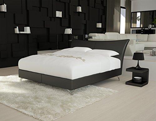 SAM® Design Boxspringbett Wild Grenada schwarz mit Bonellfederkern in Massiv-Holz-Rahmen und Chrom-Füßen 180 x 200 cm
