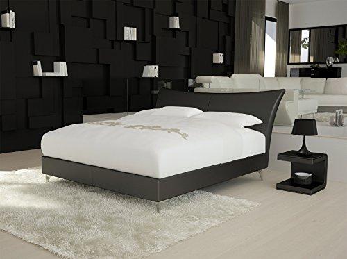 SAM® Design Boxspringbett Wild Lima schwarz mit Bonellfederkern in Massiv-Holz-Rahmen und Chrom-Füßen 140 x 200 cm