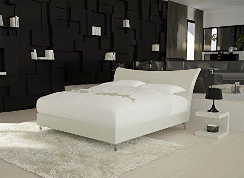 SAM® Design Boxspringbett Wild Lima weiß mit Bonellfederkern in Massiv-Holz-Rahmen und Chrom-Füßen 180 x 200 cm