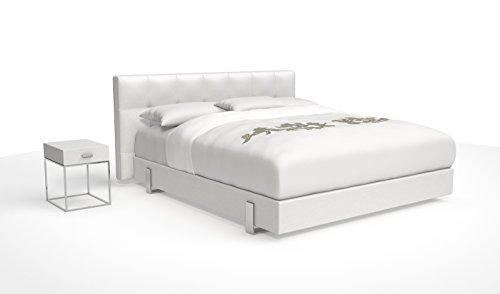 SAM® Design Boxspringbett Zadar Sole weiß mit 7-Zonen H2 Taschenfederkern-Matratze und Chrom-Füßen, 180 x 200 cm