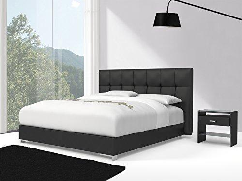 SAM® Design Boxspringbett Zadar Toronto schwarz mit Bonellfederkern in Massiv-Holz-Rahmen und Chrom-Füßen, 140 x 200 cm