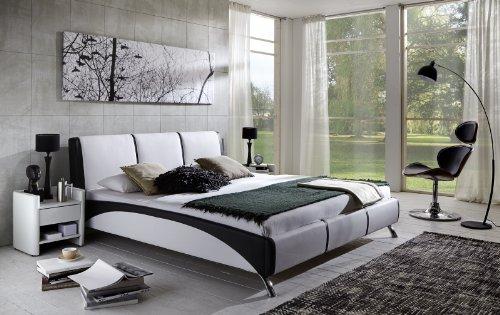 SAM® Design Polsterbett Funchal, 160 x 200 cm in weiß/schwarz, komfortable Rückenlehne inklusive Soundsystem, modernes Design mit SAMOLUX®-Bezug, Bett mit edlen Chromfüßen, als Wasserbett geeignet