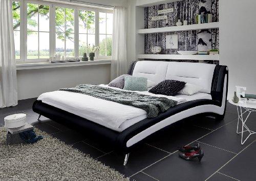 SAM® Design Polsterbett Silva in schwarz / weiß 200 x 200 cm Chrom farbene Füße Kopfteil gepolstert geschwungene Seitenteile modernes Design Wasserbett geeignet