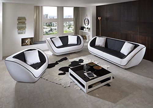 SAM® Design Polstergarnitur Navarra Sofa Garnitur 3tlg. In schwarz - weiß besteht aus einem 3-Sitzer Sofa + 2-Sitzer Sofa + einem Sessel inklusive Kissen, futuristisches Design, angenehmer Sitzkomfort, pflegeleichte Oberfläche Lieferung montiert per Spedition