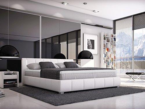 sam designer boxspringbett leon wei mit led beleuchtung h3 bonellfederkern matratze extra dickem. Black Bedroom Furniture Sets. Home Design Ideas