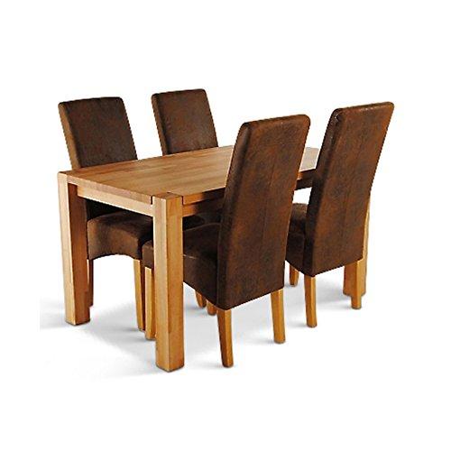 SAM-Esszimmer-Esstisch-Tischgruppe-Okay-5-teilig-in-Wildleder-Optik-Tisch-mit-Schublade-aus-massiver-Wildeiche-Sitzgruppe-bestehend-aus-1-x-Tisch-Okay-in-140-x-70-cm-und-4-x-Stuhl-Piacenza-0
