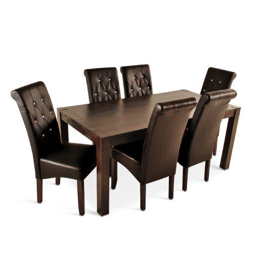 SAM® Esszimmer Tischgruppe 7tlg Palisander dunkel Siam 175 cm + 6 x Stuhl Juri massiv elegant schlicht natürlich Lieferung erfolgt über Spedition teilzerlegt