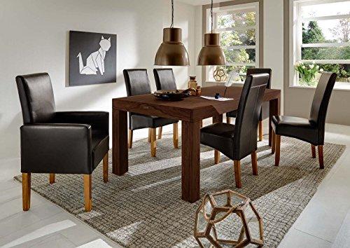 SAM-Esszimmer-Tischgruppe-Cubus-7tlg-walnuss-Tisch-Cubus-7028-gelt-in-200-cm-2-x-Armlehnstuhl-Moresco-in-braunstonefarben-4-x-Stuhl-Monte-in-braunstonefarben-Esszimmertisch-aus-Sheeshamholz-schne-hohe-0