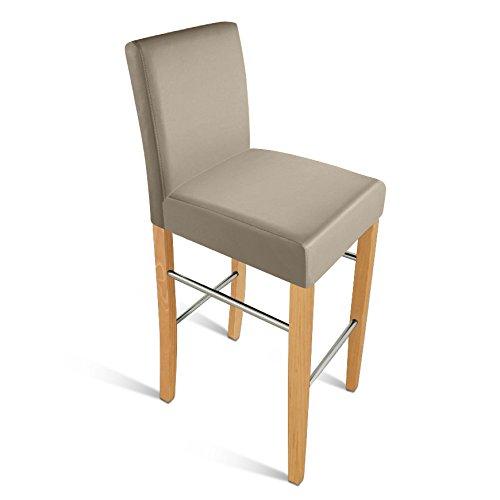 SAM® Esszimmerstuhl Barhocker Monte in muddy mit buche-farbigen Beinen aus Pinien-Holz, Stuhl mit SAMOLUX®-Bezug, angenehme Polsterung, pflegeleichter Stuhl mit geschwungener Rückenlehne