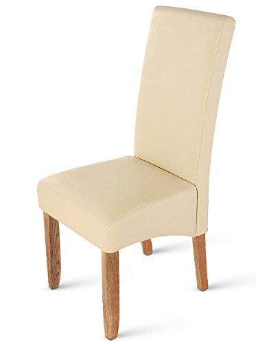 SAM® Esszimmerstuhl Carlo in creme mit stone-farbenen Beinen aus Pinien-Holz, Stuhl mit SAMOLUX®-Bezug, angenehme Polsterung, pflegeleichter Stuhl mit geschwungener Rückenlehne