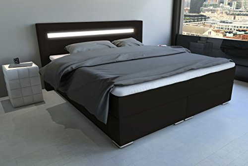 sam led boxspringbett 160 200 cm austin dunkelbraun nosagfederkern 7 zonen h3 bonellfederkern. Black Bedroom Furniture Sets. Home Design Ideas