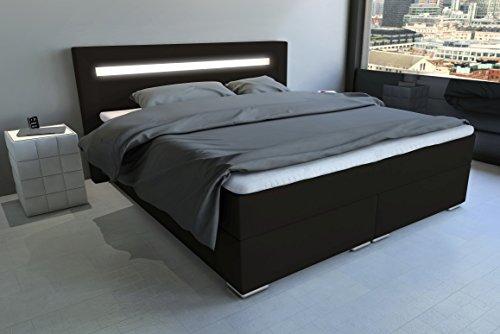 SAM LED-Boxspringbett 160x200 cm Austin, dunkelbraun, Nosagfederkern, 7-Zonen H3 Bonellfederkern-Matratze, Kaltschaum-Topper
