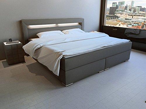 SAM-LED-Boxspringbett-180x200-cm-Austin-Kunstleder-grau-Bonellfederkern-Matratze-H3-Topper-0
