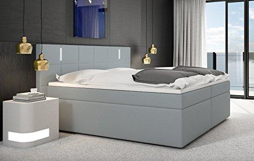 SAM-LED-Boxspringbett-180x200-cm-Sapri-Kunstleder-hellgrau-Bonellfederkern-Box-7-Zonen-H2-Taschenfederkern-Matratzen-Viscoschaum-Topper-0
