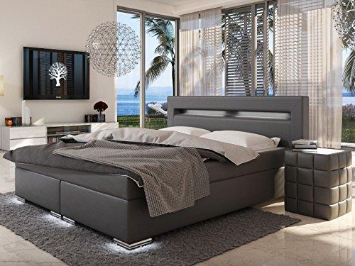 sam led boxspringbett 200x200 cm austin kunstleder grau bonellfederkern matratze h3 topper. Black Bedroom Furniture Sets. Home Design Ideas