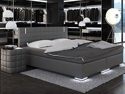 SAM® LED-Boxspringbett Berlin mit Samolux®-Bezug in grau, LED-Beleuchtung an Füßen & Kopfteil, Bonellfederkern-Matratze H3, extra dickem Topper, 180 x 200 cm