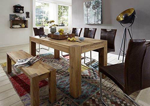 SAM-Massive-Tischgruppe-Rustiko-II-7tlg-in-Wildeiche-gelt-beinhaltet-1-x-Tisch-Rustiko-II-180-cm-1-x-Bank-Rustiko-II-5-x-Freischwinger-Adrian-in-wildlederoptik-Stoff-natrliche-Maserung-modernes-Design-0