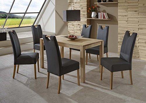 SAM® Massiver Esszimmer Tisch Barni, 80 x 140 cm, aus Kernbuche, Esszimmertisch mit natürlicher Maserung, exklusiver Holztisch mit zwei erweiterbaren Ansteckplatten für Ihre Wohnung