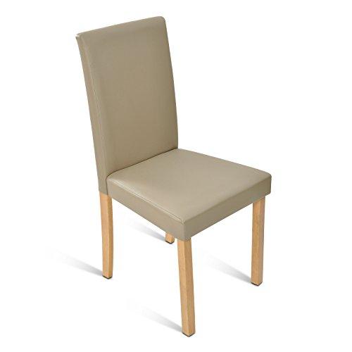 SAM® Polster-Stuhl Billi, Esszimmer-Stuhl in muddy, Massivholz-Beine in buche, bezogen mit einem SAM®-Lederimitat, angenehme Polsterung, Design-Stuhl für Küche und Esszimmer