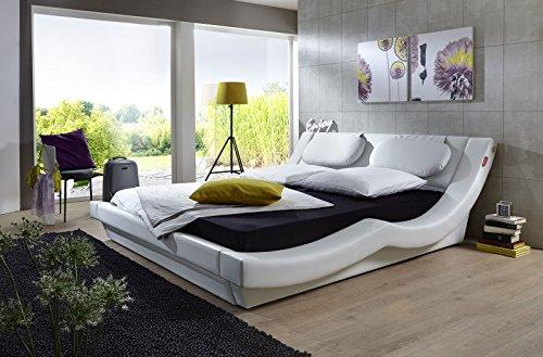 SAM® Polsterbett Pau in weiß 200 x 200 cm geschwungenes modernes Design Wasserbett geeignet