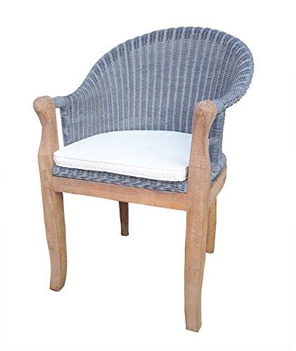 SAM® Rattan Esszimmer-Stuhl COBRA in Farbe grau-blau mit Armlehnen, Kissen inklusive