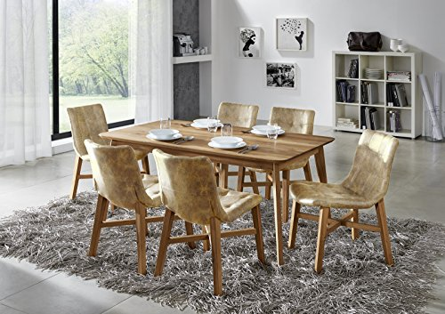 SAM® Stilvolle Esszimmertischgruppe 5tlg Olpe aus Wildeiche geölt besteht aus 1 x Tisch Olpe geölt + 6 x Stuhl Bernd in braun, natürliche Maserung, massiv, pflegeleicht Lieferung teilmontiert per Spedition