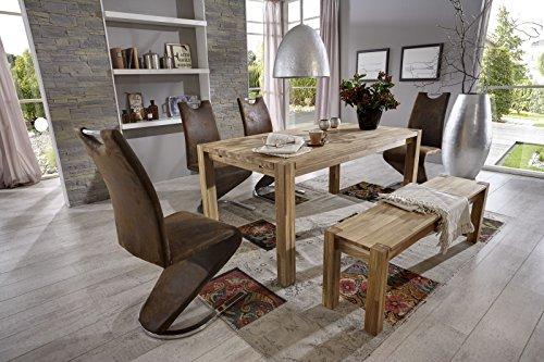 SAM-Tischgruppe-6tlg-Paula-in-Eiche-gelt-1-x-Tisch-Paula-aus-Eiche-160-240-x-90-inklusive-2-Ansteckplatten-4-x-Freischwinger-Stuhl-Tara-in-wildlederoptik-1-x-Sitzbank-Paula-ca-140-cm-0