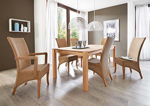 SAM-Tischgruppe-Sandro-7tlg-Kernbuche-massiv-200-cm-mit-Sthlen-Mai-Rattan-gelt-natrliche-Maserung-modernes-Design-kombinierbar-Handarbeit-Lieferung-mit-Spedition-und-telefonische-Avisierung-0