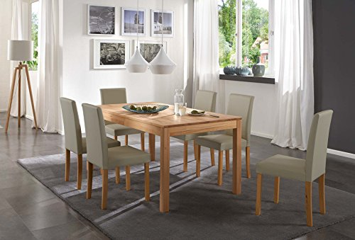 SAM-Tischgruppe-Siggi-7tlg-Tisch-in-Kernbuche-massiv-140-cm-mit-6-x-Stuhl-Billi-in-muddy-buche-gelt-massive-Optik-natrliche-Maserung-modernes-Design-kombinierbar-Handarbeit-Lieferung-per-Spedition-0