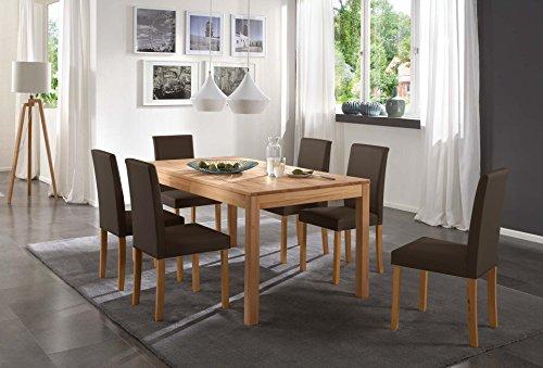 SAM-Tischgruppe-Siggi-7tlg-Tisch-in-Kernbuche-massiv-180-cm-mit-6-x-Stuhl-Billi-in-braun-buche-gelt-massive-Optik-natrliche-Maserung-modernes-Design-kombinierbar-Handarbeit-Lieferung-per-Spedition-0