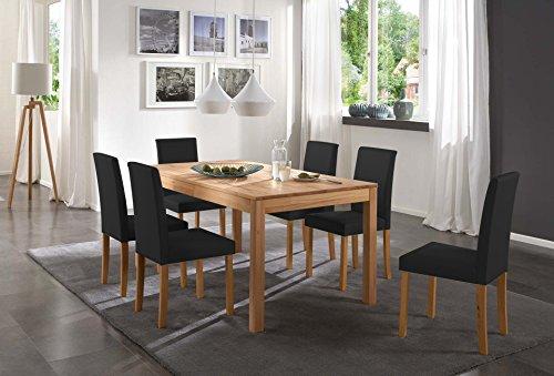 SAM-Tischgruppe-Siggi-7tlg-Tisch-in-Kernbuche-massiv-180-cm-mit-6-x-Stuhl-Billi-in-schwarz-buche-gelt-massive-Optik-natrliche-Maserung-modernes-Design-kombinierbar-Handarbeit-Lieferung-per-Spedition-0