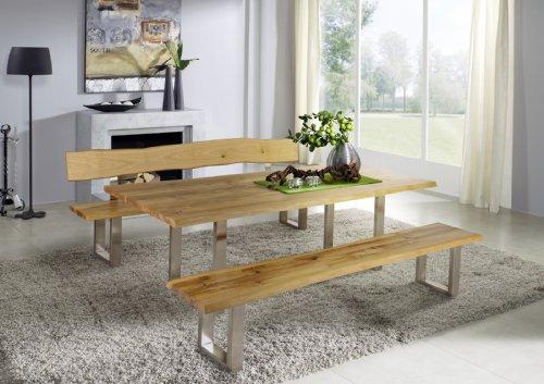 SAM-Tischgruppe-Zinst-180-cm-aus-Wildeiche-Holz-Eiche-Holz-gelt-Tisch-Zinst-mit-Sitzbank-mit-und-ohne-Rckenlehne-Beine-aus-Edelstahl-Auslieferung-durch-Spedition-teilmontiert-0