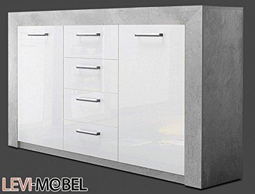 sideboard wohnzimmer beton optik wei hochglanz ausstellungsst ck 586369 m bel24. Black Bedroom Furniture Sets. Home Design Ideas